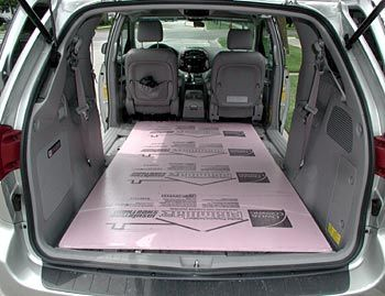 This 4x8' sheet shows the large interior of the Toyota Sienna - for converting minivan to camper - 2005 Toyota Sienna Review By Joe Wiesenfelder