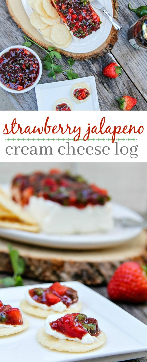 This strawberry jalapeño cream cheese log is quick and easy to make and is perfect for holiday entertaining. #EasyHolidayEats AD
