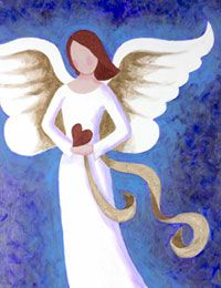 """""""Angel of Love"""" canvas painting party design."""