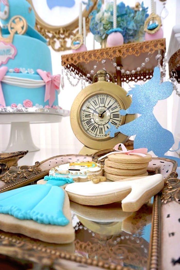 Cinderella sugar cookies from Fairy Godmother Cinderella Birthday at Kara's Party Ideas. See more at karaspartyideas.com!