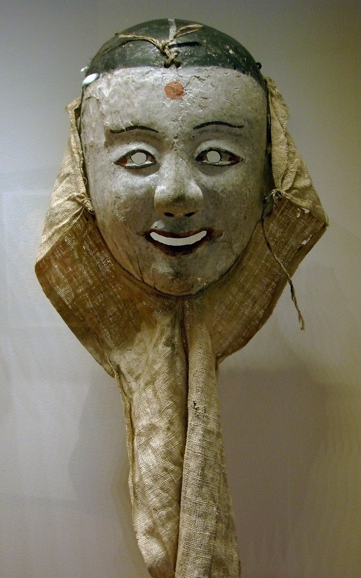 kak-si-tal. The red dot is a symbol of new bride in Korean wedding ceremony. Likely worn in a dance performance. 18th C. painted wood Mask, Korea, Chosôn Dynasty. Guimet