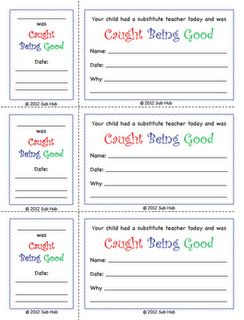 """Caught Being Good"" -- classroom management subbing freebie from subhubonline.blogspot.com"