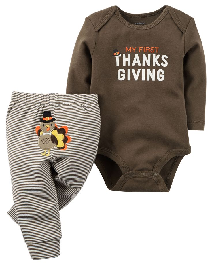 A cozy bodysuit pairs perfectly with striped leggings for your little turkey's first Thanksgiving.