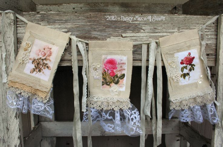 ye shabby roses handmade shabby chic fabric collage. Black Bedroom Furniture Sets. Home Design Ideas