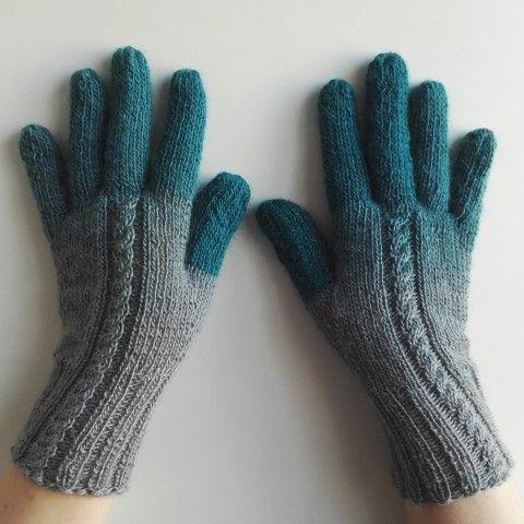 Rukavice - Prstíky tyrkysové pletené šedá tyrkysová zimní podzimní rukavice teplé handmade prstové ivka