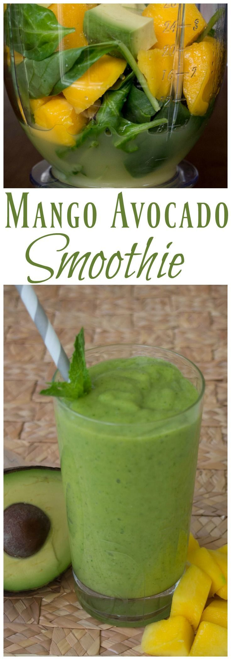 Mango Avocado Smoothie | Dairy Free Smoothie | Easy 5 Ingredient Smoothie | Green Smoothie | Healthy Snack | Green Food | St. Patrick's Day Treat