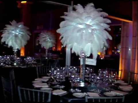 White Ostrich Feather Centerpiece Rentals By Sweet 16 Candelabras Call
