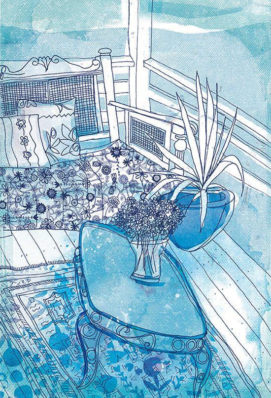 Sur le pont bleu et blanc Art Archiv...