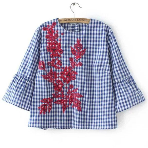 Blue Plaid Contrast Floral Embroidery Blouse (306.960 IDR) ❤ liked on Polyvore featuring tops and blouses