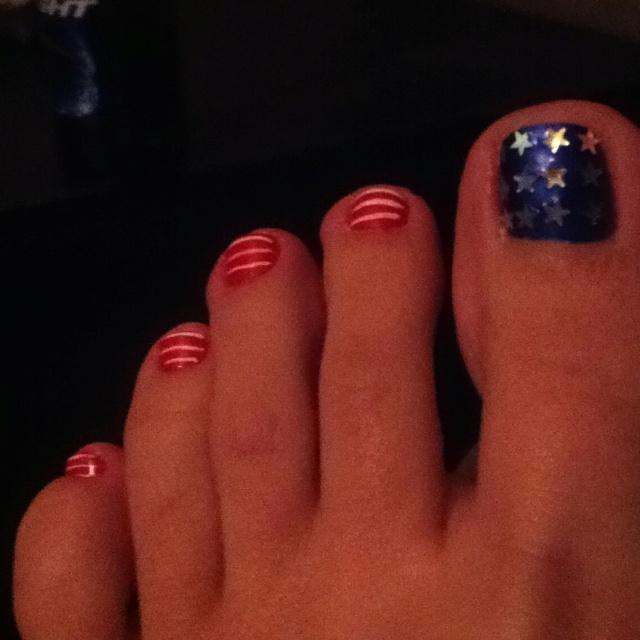 American Flag Toe Nail Design