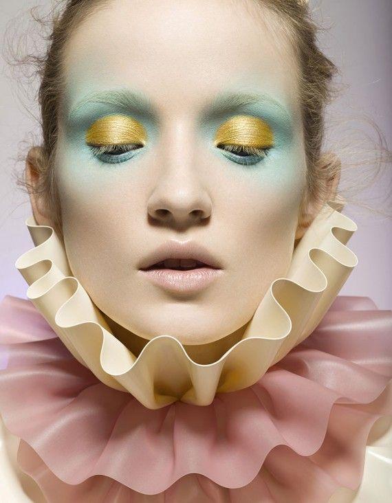Mint and Yellow Eyshadow #pastelmakeup #editorialmakeup