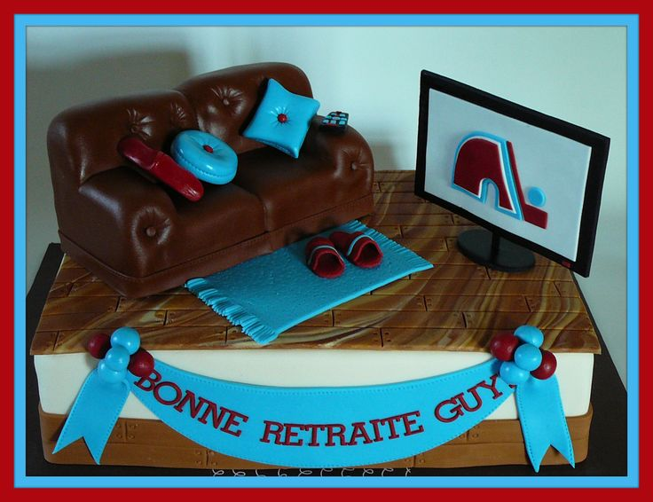 Lounge with couch and TV - A retirement cake for Guy who was a fan of the Quebec Nordiques hockey team. He also loves watching TV. The cake is vanilla with buttercream covered with fondant. The couch is rice cereal treat covered with fondant. All details are fondant. I had lot of fun to reproduce this lounge!