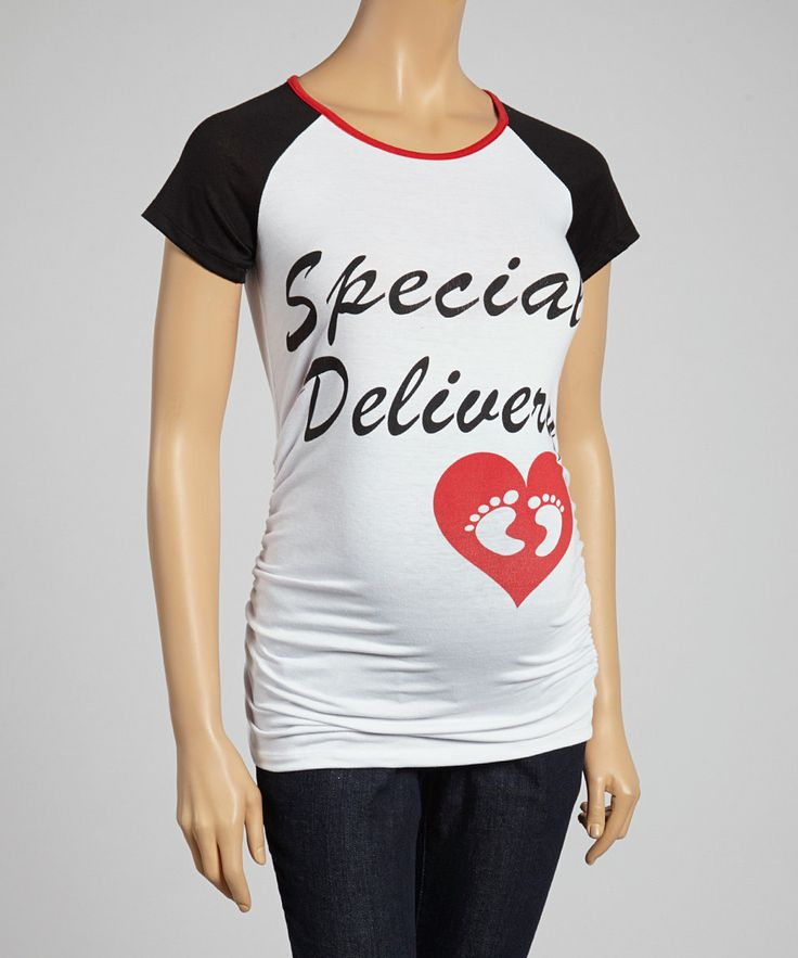 Look what I found on White & Black 'Special Delivery' Maternity Raglan Top  - Women by Mom & Co.