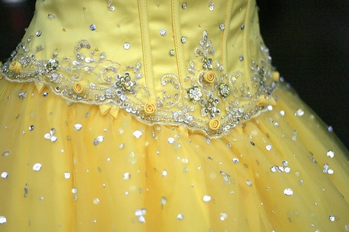 Yellow with beading