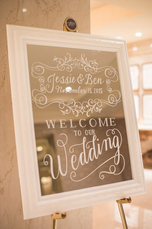 Welcome board. Amazing brush lettering on the mirror is the trend for weddings decoration and receiving table. #brushlettering #calligraphy #welcomeboard #torontoweddings