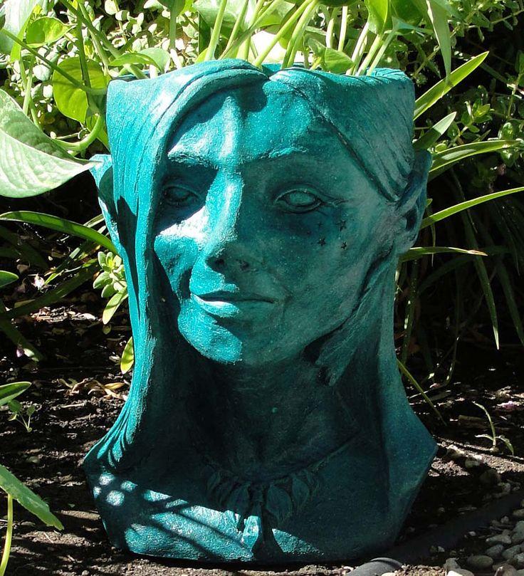 Cast Stone Fairy Head Planter In Outdoor Planters