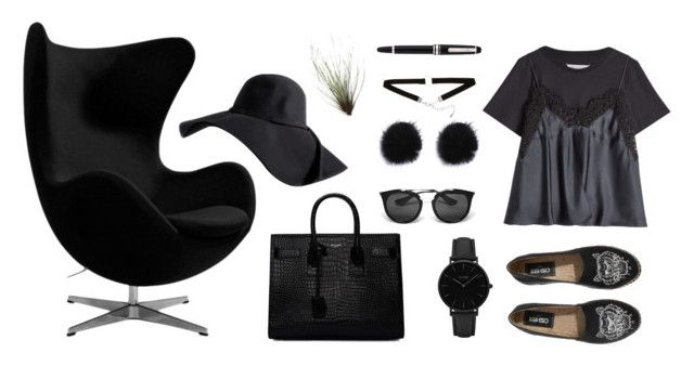 """""""Untitled #75"""" by line00 on Polyvore featuring Yves Saint Laurent, Maison Margiela, Prada, CLUSE, Montblanc, black, allblack and chair"""