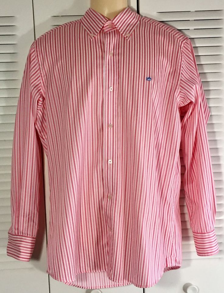 Southern Tide Men's Pink Peach Striped Button Front Shirt Sz M Medium Size  #SouthernTide #ButtonFront