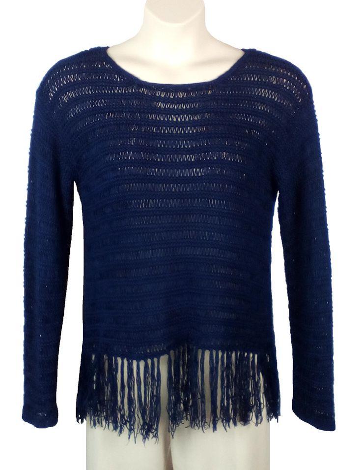 90656b75296 Womens Lane Bryant Crocheted Knit Top Blouse Dark Blue Plus Size 14 16  Fringe