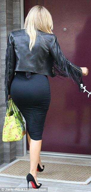Big Ass Ebony In A Tight Leather Skirt