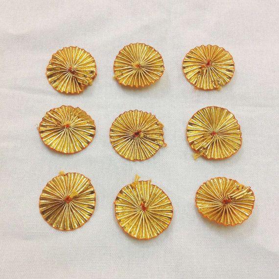 Gold Gota Flower - Golden YoYos - Gota Ribbon Flowers - Party / Wedding Dresses / Supply / Embellishment