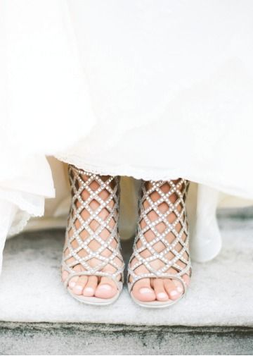 Add a touch of the unexpected to your wedding day outfit with these funky and elegant wedding shoes—perfect for showing off your bridal pedicure!