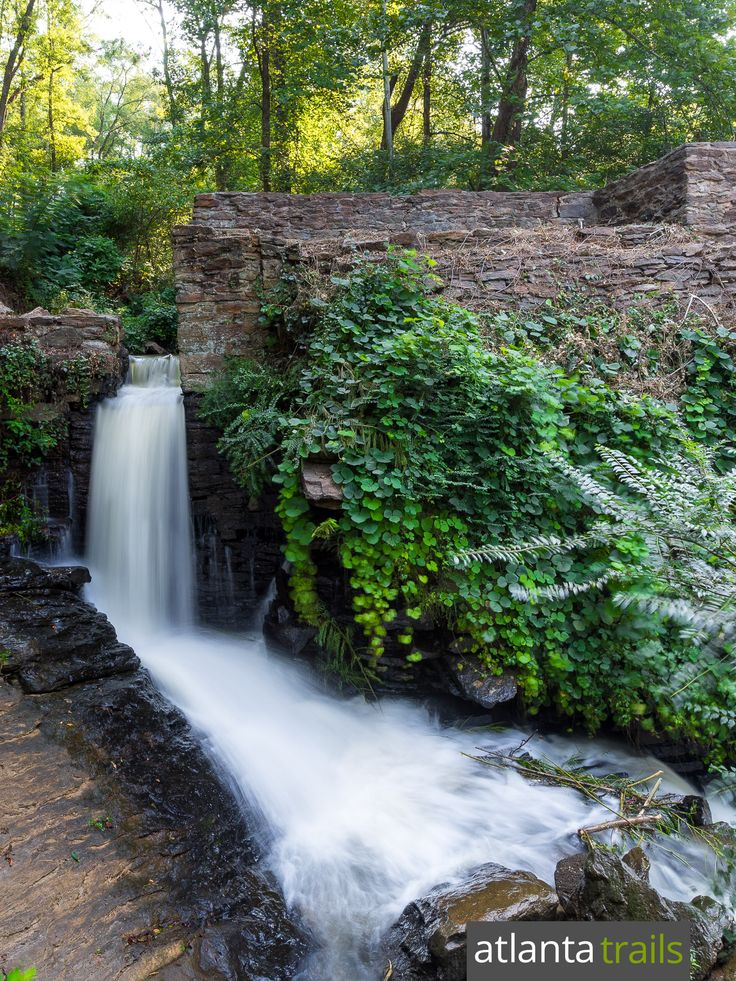 Hike to the tumbling waterfall at Roswell Mill on the Vickery Creek Trail, one of Atlanta's top hiking and running trails