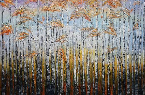 Pittura di paesaggio pittura dell'albero di betulla di Topart007