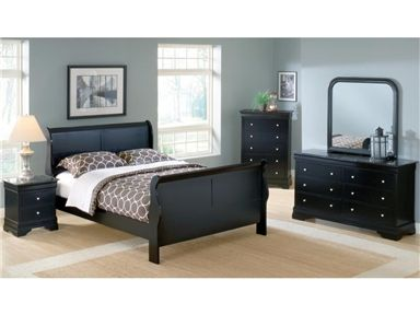 Shop for Bernards Promo Black Lp Panel Sleigh Bed - King, 1911M, and other Bedroom Beds at Buyer's Paradise Furniture in Somerset and Corbin, KY. Classic Louis Philippe styled bedroom suite is finished in a black lacquer tone over Asian hardwoods and veneers. The sleigh bed features shaped end panels making a nice focal point for this group.
