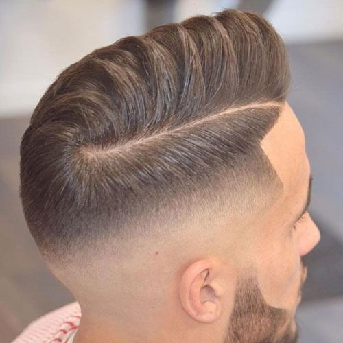 Skin Fade with Hard Part Comb Over and Beard