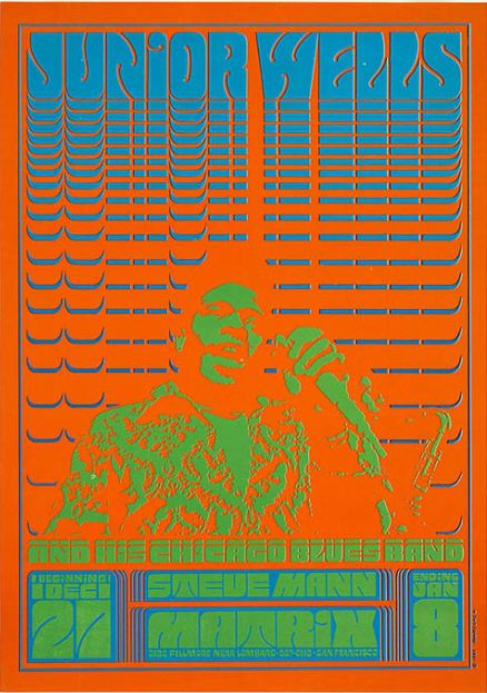Poster by Victor Moscoso, 1966, Junior Wells and his Chicago Blues Band.
