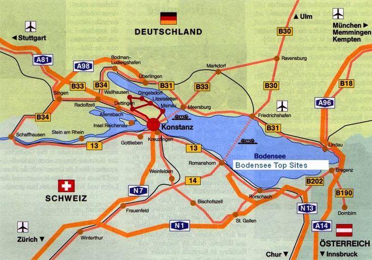 ღღ Bodensee Karte - Bodensee Bundesstraßen und Bodensee Autobahnen - Straßen rund um den Bodensee