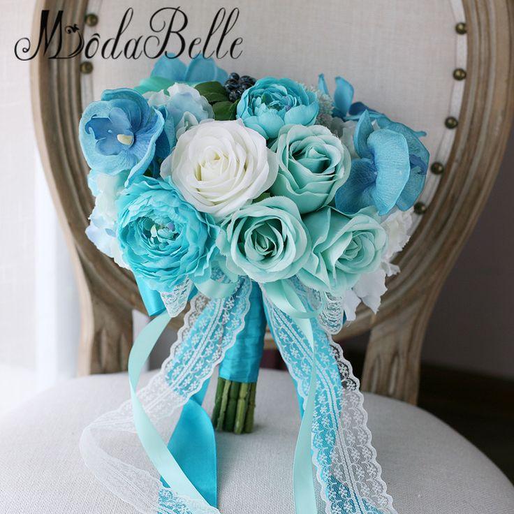 >> Click to Buy << modabelle Real Touch Flowers Artificial Orchids Rose Calla Wedding Bouquets Tiffany Blue Bouquet Bridal Buket Ramos De Flores #Affiliate