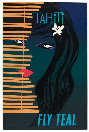 Gorgeous Vintage Teal Airlines Travel Poster:  Tahiti