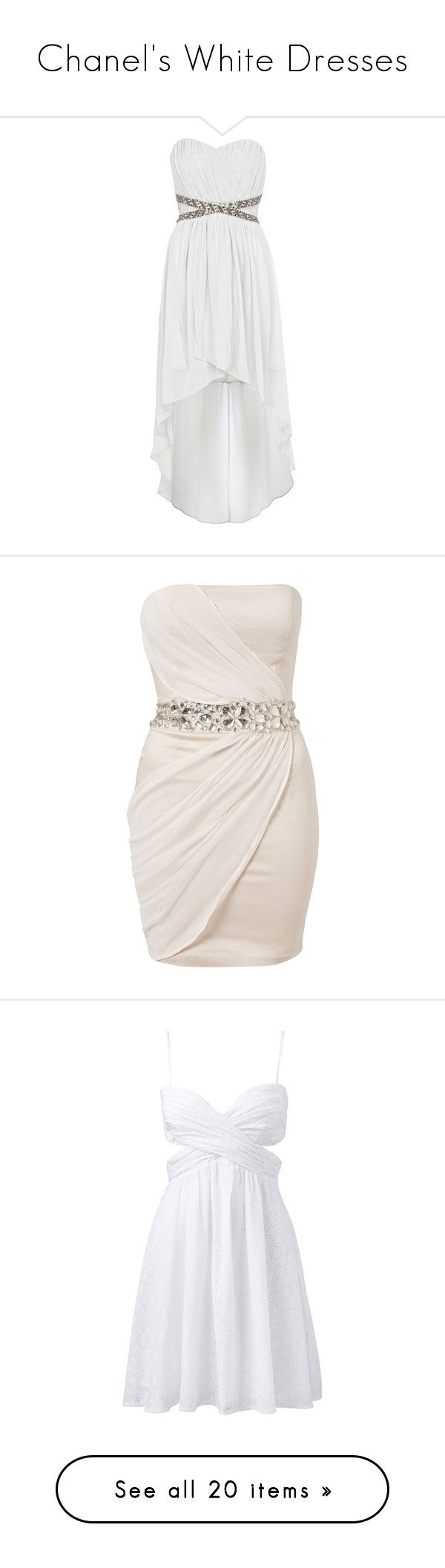 """Chanel's White Dresses"" by repressed-yeemo-anons ❤ liked on Polyvore featuring dresses, vestidos, robes, white dresses, white hi low dress, holiday cocktail dresses, party dresses, metallic cocktail dress, white high low dress and short dresses"