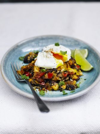 Discover this Mexican inspired refried beans recipe from Jamie Oliver, served with a poached egg; you can use whichever beans you fancy or have available.