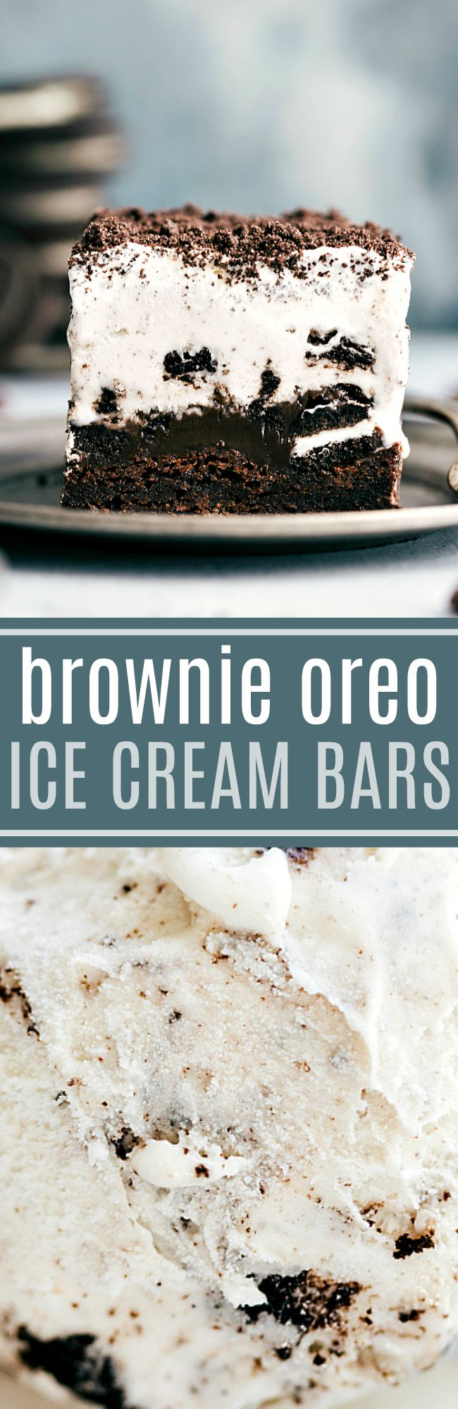 Brownie bottomed, oreo-topped, hot-fudge smothered, ice cream-covered dessert bars. So easy to make, perfect for a hot summer day, and absolutely delicious! CHELSEASMESSYAPRON.COM