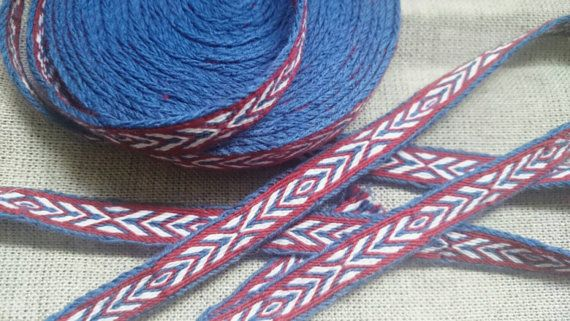 Tablet woven trim, tablet weaving, pure wool. Price for 1 meter.