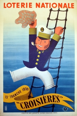 Loterie Nationale Croisieres, 1939 - original vintage poster by Derouet Lesacq listed on AntikBar.co.uk