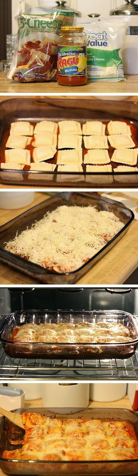 Baked Ravioli - 4 ingredients. Just keep it on hand till you are craving it, Nom nom nom!