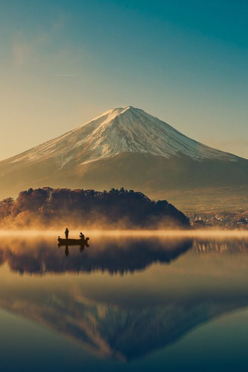 Mount fuji at Lake kawaguchiko at  Sunrise in Japan