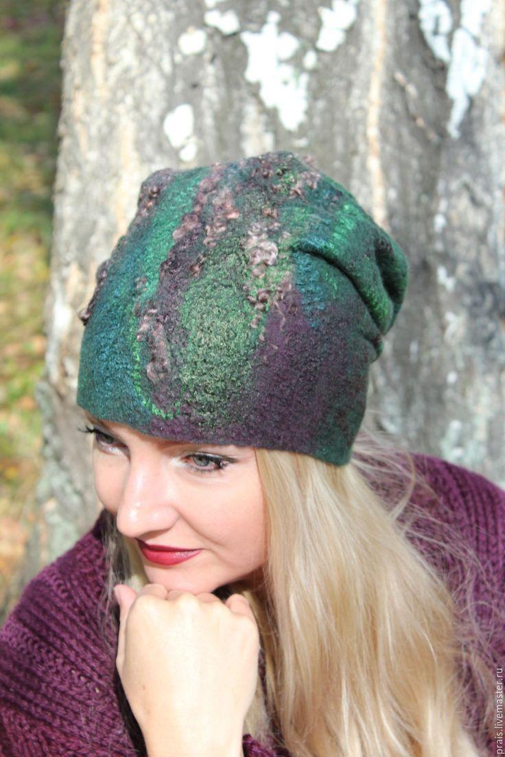 """Купить Авторская валяная шапка """"dark alleys"""" - комбинированный, шапка женская, шапка колпак"""