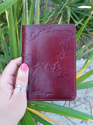 Leather World Map Passport Cover » For the jet-setters who know there are Miles to go.... always! Cover fits USA passports • Fair-trade • Handmade • Ready for adventures