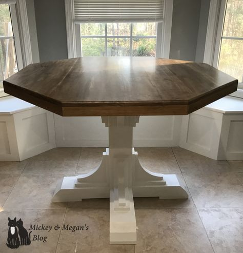 DIY Octagon (Round) Breakfast Table – Mickey and Megan's Blog. Kitchen / breakfast nook Farm house style table for under $200.
