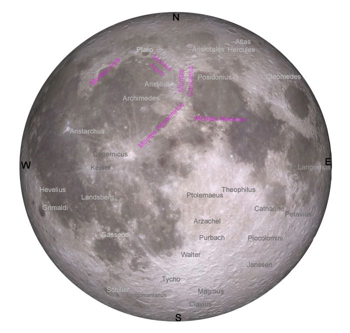 Map of major #craters and mountain ranges on the surface of the #Moon. #astronomy