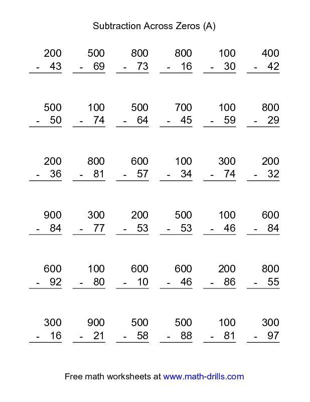 Subtraction Worksheet -- Subtraction Across Zeros -- 36 ...