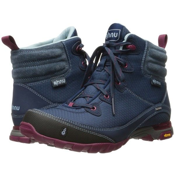 Ahnu Sugarpine Boot (Blue Spell) Women's Hiking Boots ($140) ❤ liked on Polyvore featuring shoes, grip shoes, water proof shoes, traction shoes, blue shoes and ahnu footwear