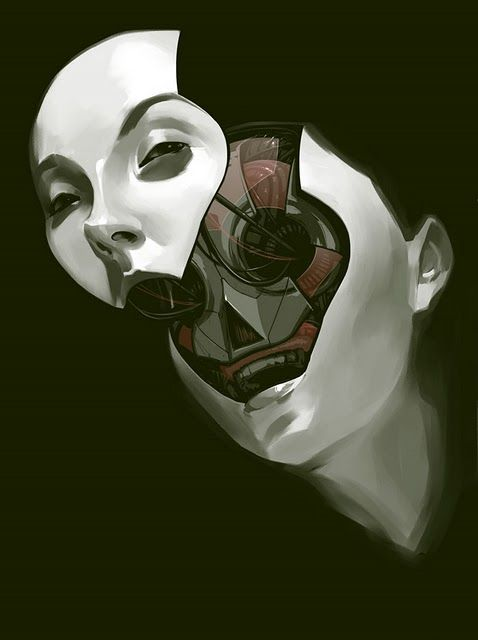 Art By Billy Nunez.  His latest theme is female robots with removable faces.  Nothing more American than that, no sir. Thanks CGUnit, NSFW.