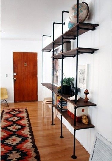 plumbing pipe shelf: Pipe Shelving, Idea, Plumbing Pipe, Brick House, Living Room, Apartment, Pipes, Diy