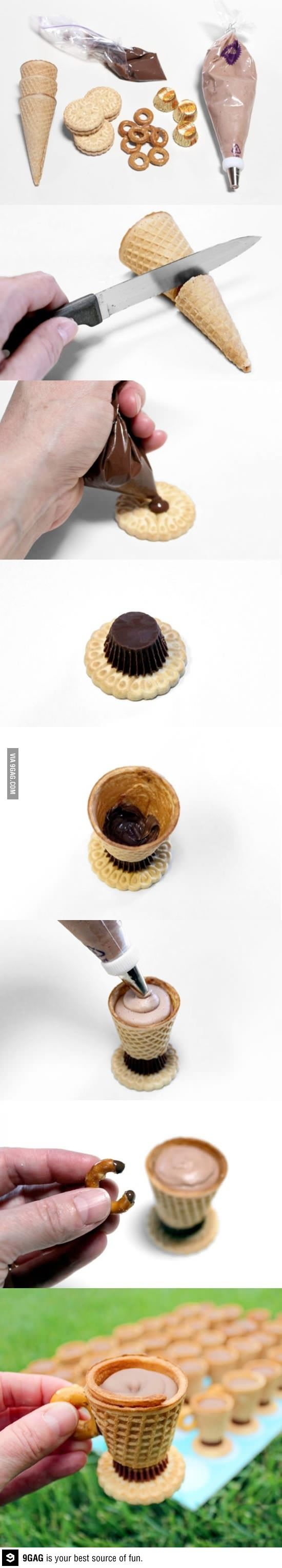 Don't know how you'd cut through the waffle cone but I want to do this so bad!